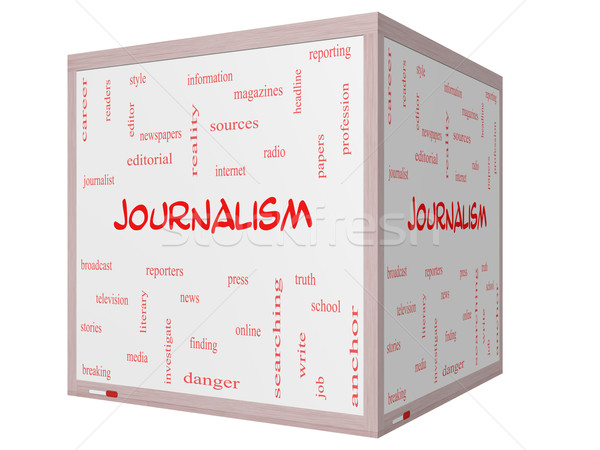 Journalsim Word Cloud Concept on a 3D cube Whiteboard Stock photo © mybaitshop