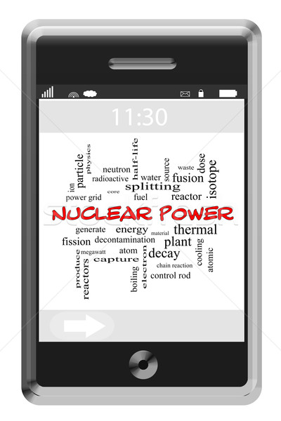 Nuclear Power Word Cloud Concept on a Touchscreen Phone Stock photo © mybaitshop