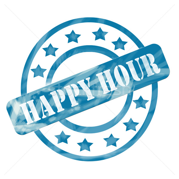 Blue Weathered Happy Hour Stamp Circles and Stars Stock photo © mybaitshop