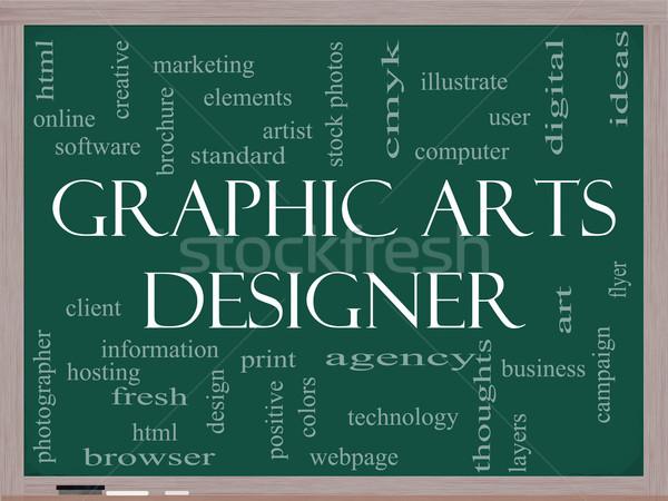 Graphic Arts Designer Word Cloud Concept on a Blackboard Stock photo © mybaitshop