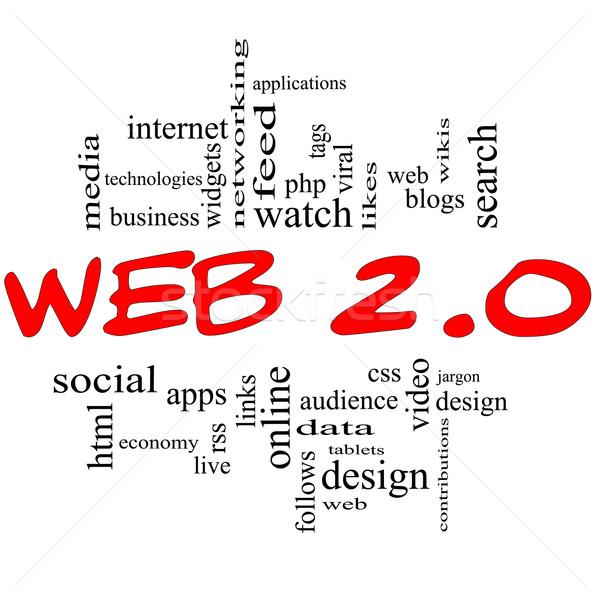 Web 20 nuage de mots rouge noir lettres Photo stock © mybaitshop