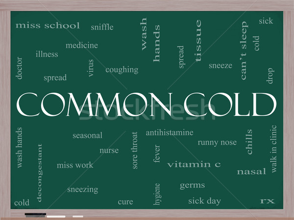 Common Cold Word Cloud Concept on a Blackboard Stock photo © mybaitshop