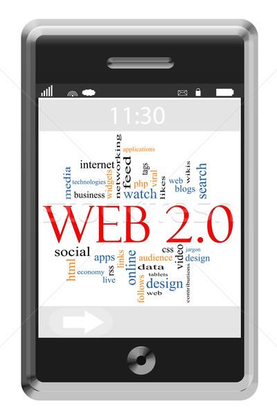 Web 20 nuage de mots écran tactile téléphone magnifique Photo stock © mybaitshop