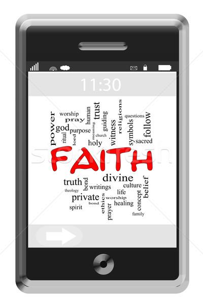 Wiary chmura słowo ekran dotykowy telefonu święty Zdjęcia stock © mybaitshop