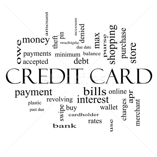 Stock photo: Credit Card Word Cloud Concept in black and white