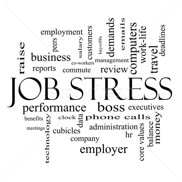 Stock photo: Job Stress Word Cloud Concept in black and white