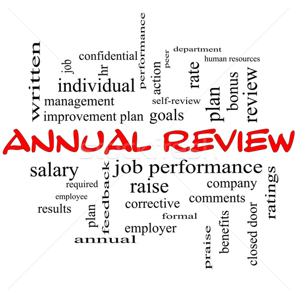 Annual Review Word Cloud Concept in red caps Stock photo © mybaitshop