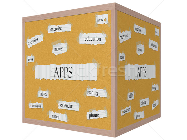 Apps 3D Cube Corkboard Word Concept Stock photo © mybaitshop