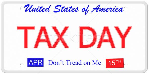 Impuesto día placa imitación Estados Unidos palabras Foto stock © mybaitshop