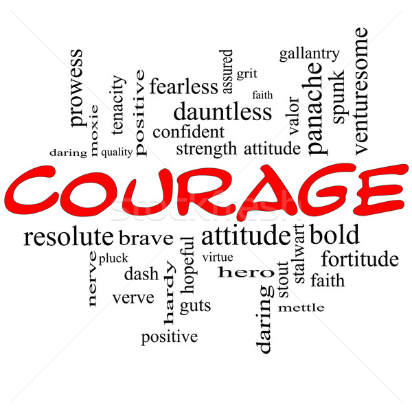 Courage Word Cloud Concept in red caps Stock photo © mybaitshop