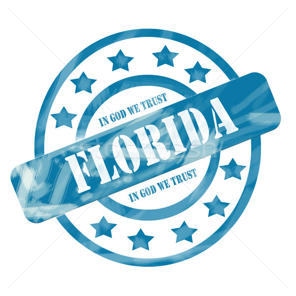 Blue Weathered Florida Stamp Circles and Stars Stock photo © mybaitshop
