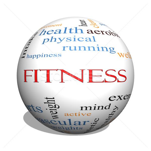 Fitness 3D sferze chmura słowo wellness Zdjęcia stock © mybaitshop