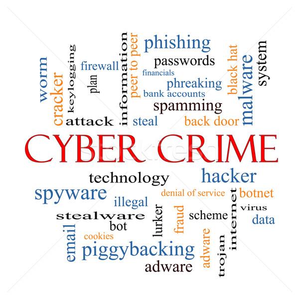 Suç kelime bulutu muhteşem hacker kötü amaçlı yazılım veri Stok fotoğraf © mybaitshop