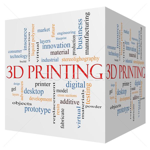 3D Printing 3D cube Word Cloud Concept Stock photo © mybaitshop