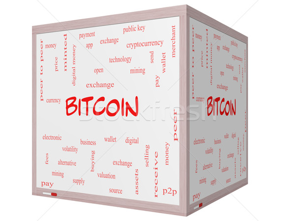 Bitcoin Word Cloud Concept on a 3D cube Whiteboard Stock photo © mybaitshop