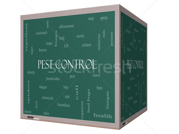 Pest Control Word Cloud Concept on a 3D cube Blackboard Stock photo © mybaitshop