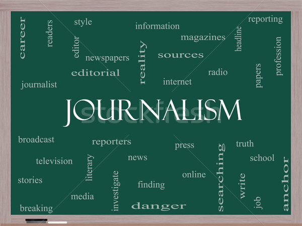 Journalsim Word Cloud Concept on a Blackboard Stock photo © mybaitshop