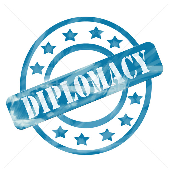 Blue Weathered Diplomacy Stamp Circles and Stars Stock photo © mybaitshop