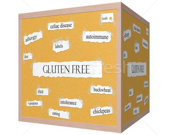 Gluten Free 3D cube Corkboard Word Concept Stock photo © mybaitshop
