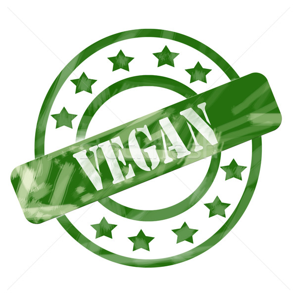 Green Weathered Vegan Stamp Circles and Stars Stock photo © mybaitshop
