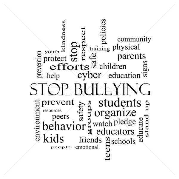 Stop megfélemlítés szófelhő feketefehér nagyszerű diákok Stock fotó © mybaitshop