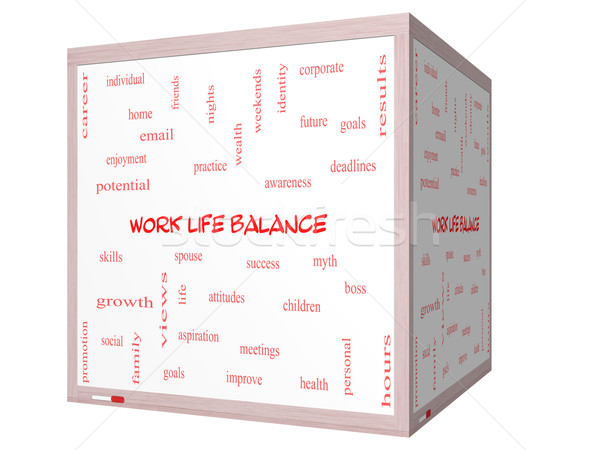 Stock photo: Work Life Balance Word Cloud Concept on a 3D cube Whiteboard