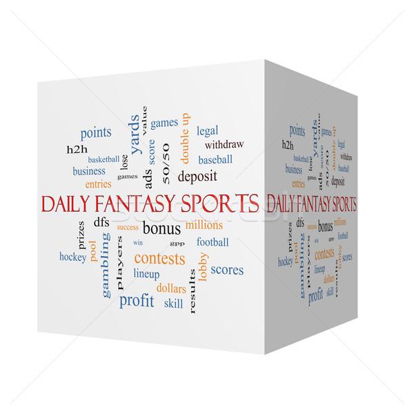 Dagelijks fantasie sport 3D kubus woordwolk Stockfoto © mybaitshop