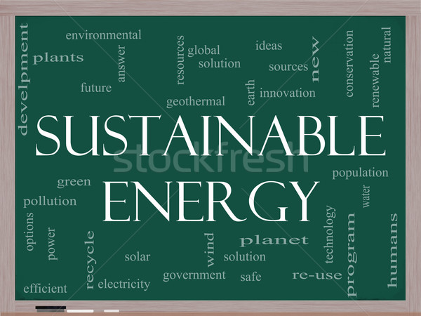 Sustainable Energy Word Cloud on Blackboard Stock photo © mybaitshop