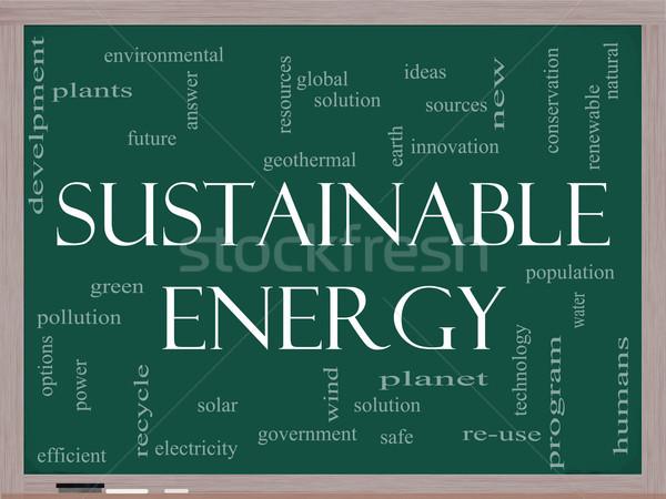 Sürdürülebilir enerji kelime bulutu tahta yeşil çözüm Stok fotoğraf © mybaitshop