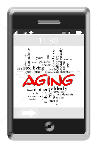Aging Word Cloud Concept on Touchscreen Phone Stock photo © mybaitshop