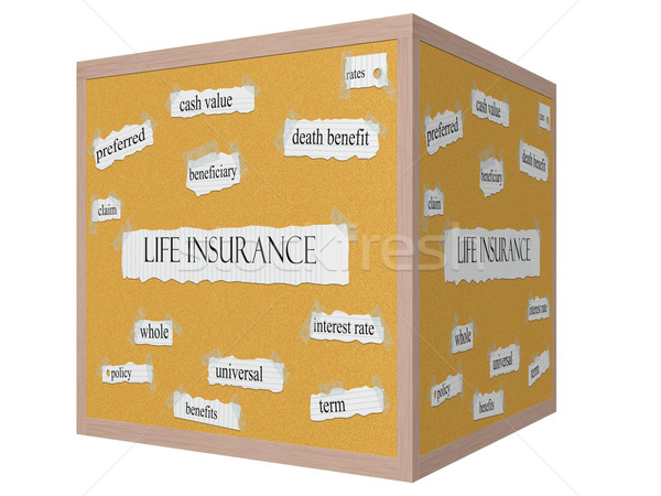 Life Insurance 3D cube Corkboard Word Concept Stock photo © mybaitshop