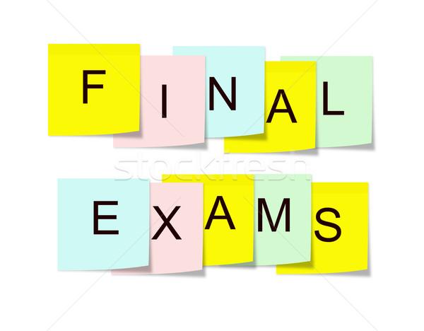 Finale examens sticky notes écrit carré coloré Photo stock © mybaitshop
