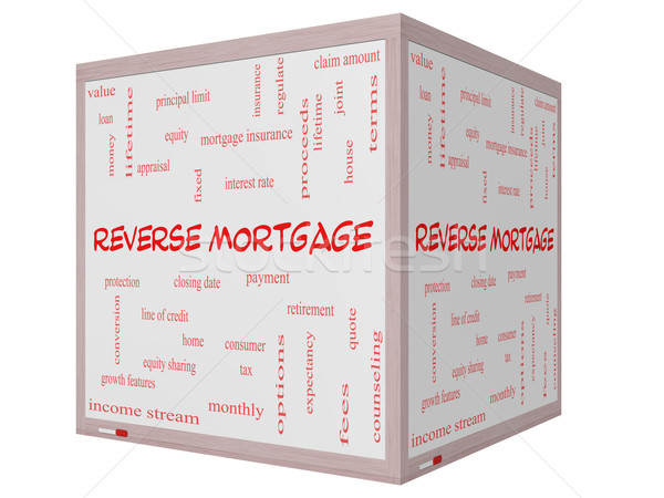 Reverse Mortgage Word Cloud Concept on a 3D cube Whiteboard Stock photo © mybaitshop