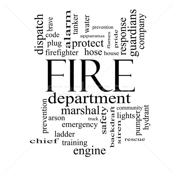 Fire Department Word Cloud Concept in black and white Stock photo © mybaitshop