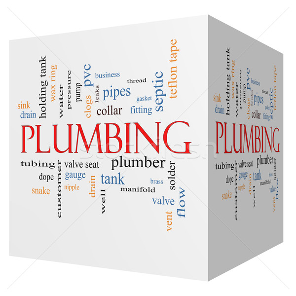 Plumbing 3D cube Word Cloud Concept Stock photo © mybaitshop