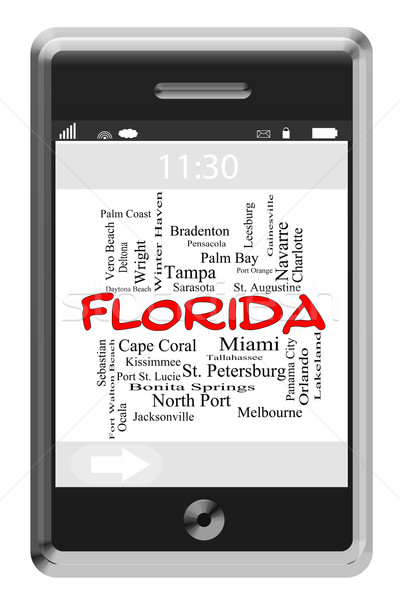 Florida State Word Cloud Concept on Touchscreen Phone Stock photo © mybaitshop