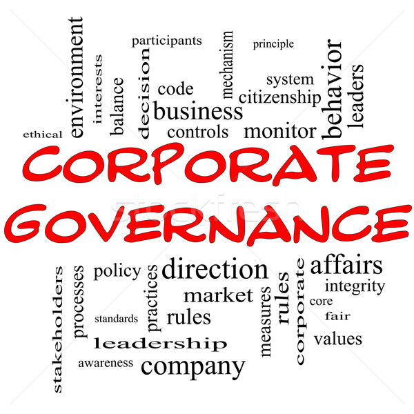 Corporate Governance Word Cloud Concept in red caps Stock photo © mybaitshop