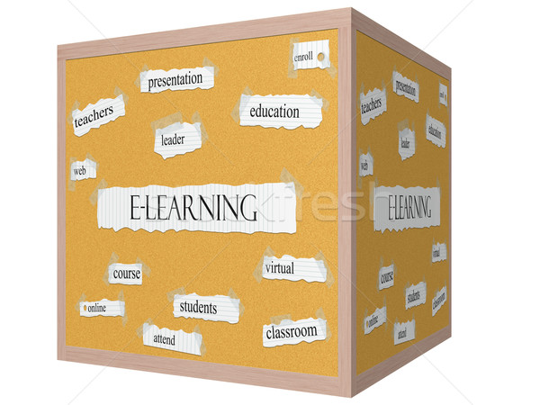 E-Learning 3D cube Corkboard Word Concept Stock photo © mybaitshop