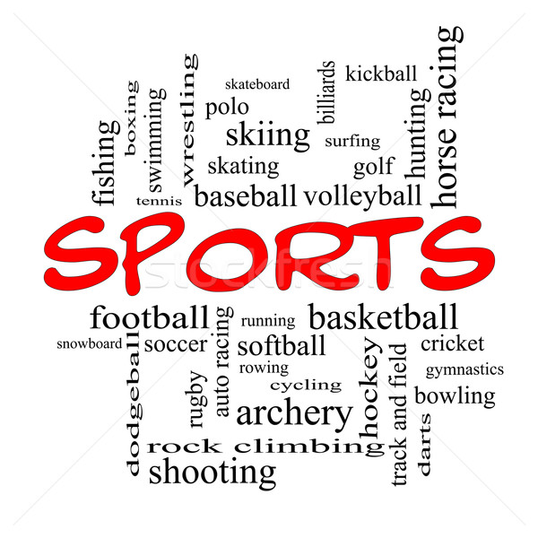 Sports Word Cloud Concept in red caps Stock photo © mybaitshop