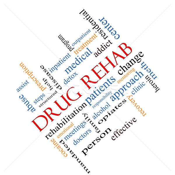 Stock photo: Drug Rehab Word Cloud Concept Angled