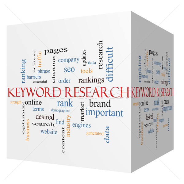 Keyword Research 3D cube Word Cloud Concept Stock photo © mybaitshop