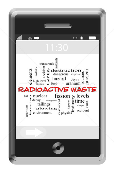 Radioactive Waste Word Cloud Concept on Touchscreen Phone Stock photo © mybaitshop