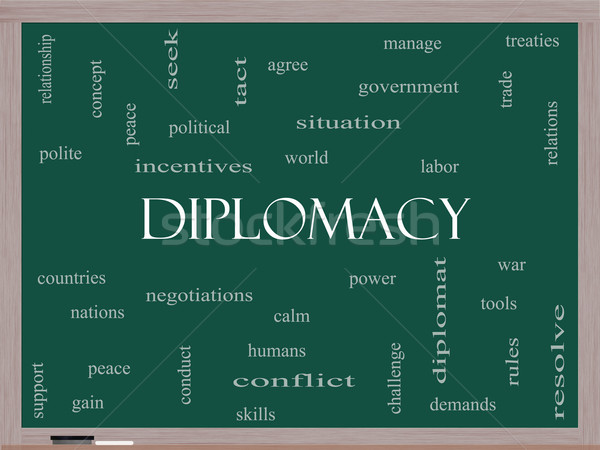 Diplomacy Word Cloud Concept on a Blackboard Stock photo © mybaitshop