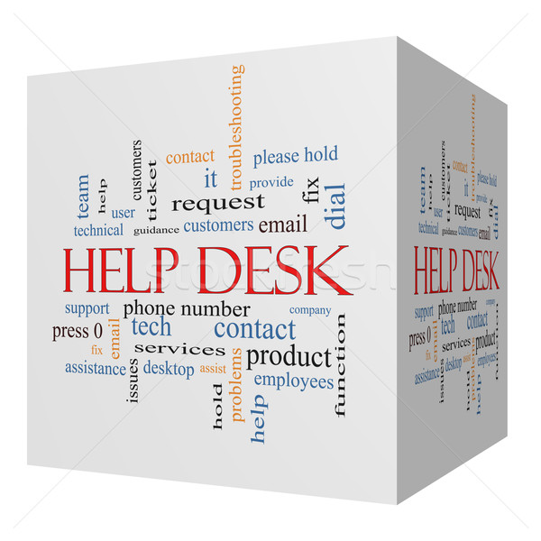 Help Desk 3D cube Word Cloud Concept Stock photo © mybaitshop