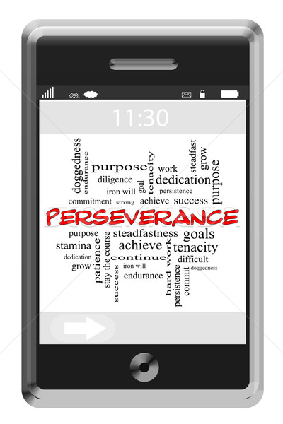 Perseverance Word Cloud Concept on a Touchscreen Phone Stock photo © mybaitshop