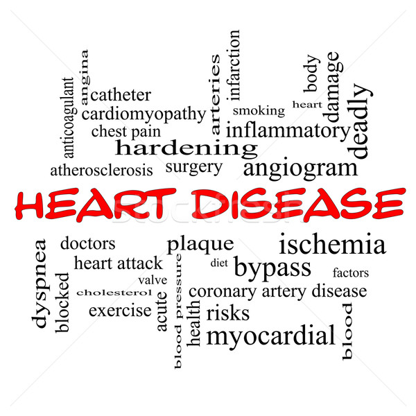 Heart Disease Word Cloud Concept in red caps Stock photo © mybaitshop