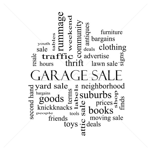 Garage Sale Word Cloud Concept in black and white Stock photo © mybaitshop