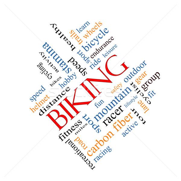 Biking Word Cloud Concept Angled Stock photo © mybaitshop