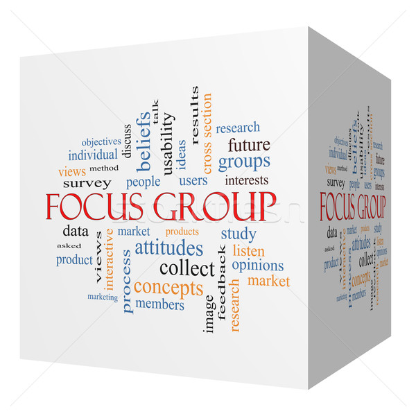 Focus group 3D cubo word cloud ricerca Foto d'archivio © mybaitshop