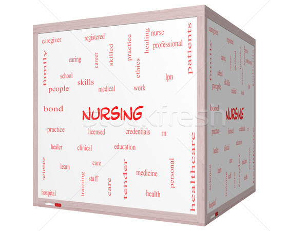 Nursing Word Cloud Concept on a 3D cube Whiteboard Stock photo © mybaitshop